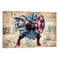 iCanvas Comics (Avengers) - Captain America On Comic Panels by Marvel Comics Canvas Print