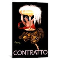 iCanvas Contratto Champagne Wine Ad Vintage Posterleonetto Cappiello by Leonetto Cappiello Canvas Print