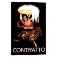 iCanvas Contratto Champagne Wine Ad Vintage Posterleonetto Cappiello by Leonetto Cappiello Canvas Print