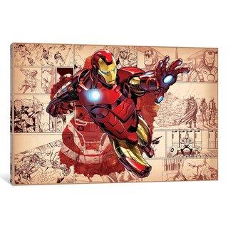 iCanvas Comics (Avengers) - Iron Man On Comic Panels  by Marvel Comics Canvas Print