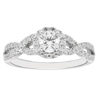 14k White Gold 1/3ct Round-cut Diamond Halo Engagement Ring (H-I, I1-I2)