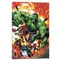 iCanvas Marvel Avengers: Black Widow, Captain America, Hawkeye, Hulk, Iron Man and Thor (Red) by Marvel Comics Canvas Print