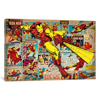 iCanvas Marvel Comic Book Iron Man on Iron Man Covers and Panels by Marvel Comics Canvas Print