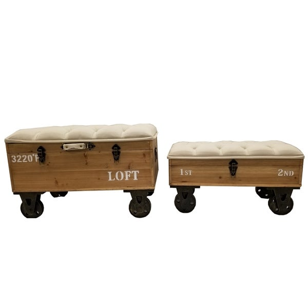 Urban Distressed Industrial Style Storage Ottoman (Set Of 2)