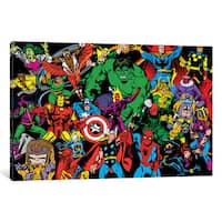 iCanvas Marvel Comics (Retro) - Character Line-Up in Zoom by Marvel Comics Canvas Print