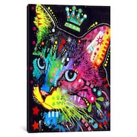 iCanvas Thinking Cat Crowned by Dean Russo Canvas Print