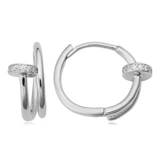 Fremada Sterling Silver with Crystals Endless Hoop Earrings