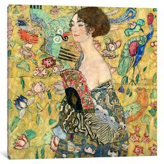 iCanvas Lady with a Fan by Gustav Klimt Canvas Print|https://ak1.ostkcdn.com/images/products/12752932/P19529266.jpg?impolicy=medium