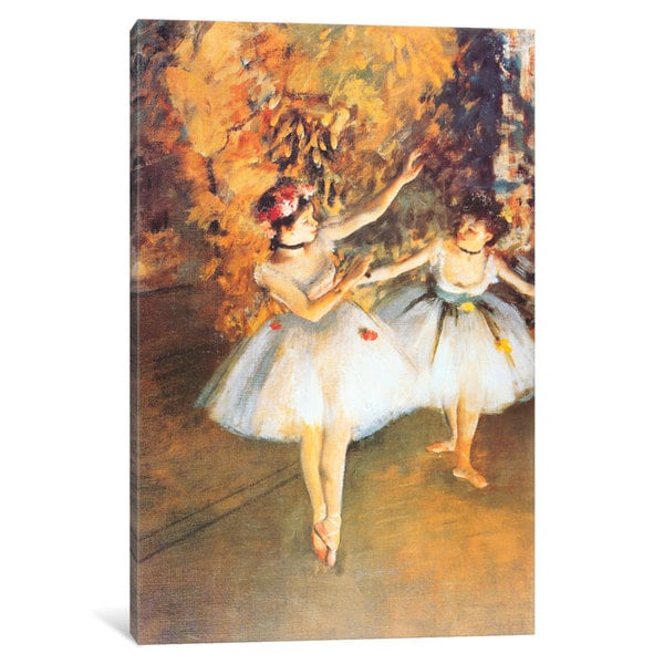 iCanvas Two Dancers on Stage (alla Barra) by Edgar Degas Canvas Print
