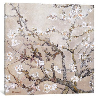 iCanvas Almond Branches In Bloom San Remy, C. 1890 (tan) by Vincent van Gogh Canvas Print