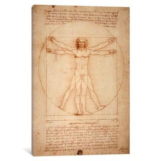 iCanvas Vitruvian Man, c. 1490 by Leonardo da Vinci Canvas Print