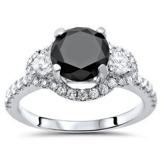 Noori 18k Gold 1 4/5ct TDW Black Round Diamond Engagement Ring
