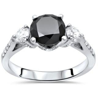 Noori 18k Gold 1 4/5ct TDW Black Round Diamond 3 Stone Engagement Ring