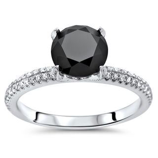 Noori 18k Gold 1 4/5ct TDW Black Round Diamond Pave Engagement Ring