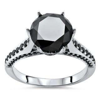 Noori 14k Gold 2 4/5ct TDW Black Round Diamond Six Prong Heart Engagement Ring