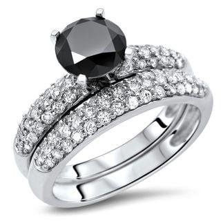 Noori 14k Gold 2 1/5ct Round Black Diamond Engagement Ring Wedding Set