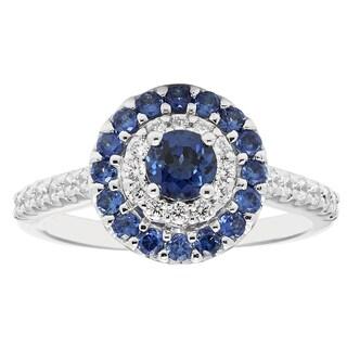 14k White Gold 1 1/5ct Diamond and Sapphire Engagement Ring (H-I, I1-I2)