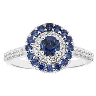 14k White Gold 1 1/5ct Diamond and Sapphire Engagement Ring