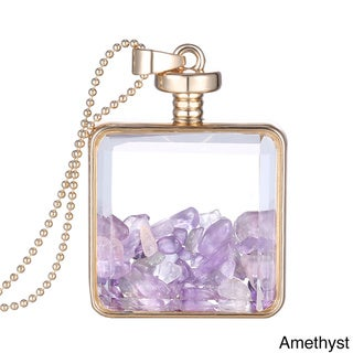 14k Gold Overlay Glass Pendant with Genuine Gemstones