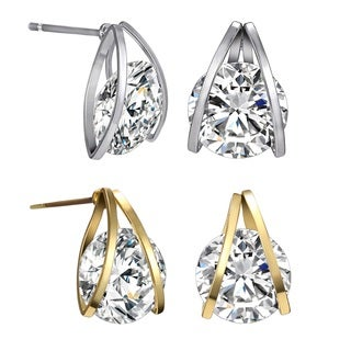 18k White or 14k Yellow Gold Overlay Austrian Crystal Naked Earrings