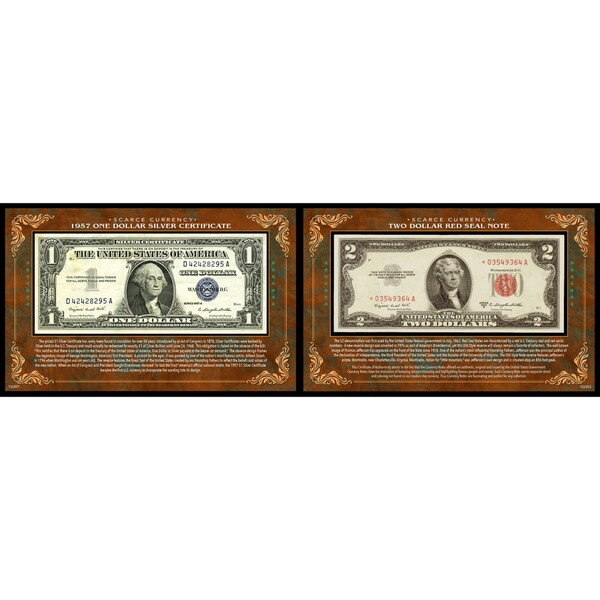 American Coin Treasures 1957 $1 Silver Certificate and $2 Red Seal Note Scarce Currency