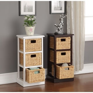 William's Home Furnishing Nina White Espresso Wooden 3-basket Storage Table