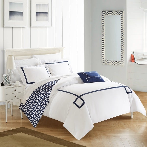 Chic Home 8-Piece Xanti Navy BIB Duvet Set