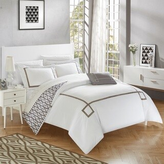 Chic Home 8-Piece Xanti Grey BIB Duvet Set