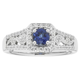 14k White Gold 5/8ct TDW Diamond and Sapphire Engagement Ring