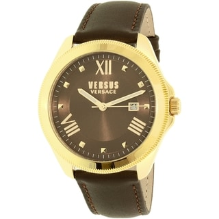 Versus by Versace Women's Elmont Brown Leather/ Goldtone Stainless Steel Quartz Watch