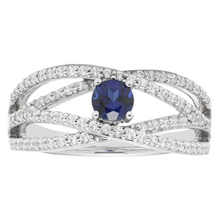 14k White Gold 2/5ct Diamond and Sapphire Engagement Ring (H-I, I1-I2)