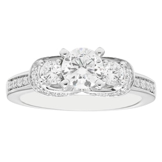 14k White Gold 1 1/2ct Round-cut 3-stone Diamond Engagement Ring (H-I, I1-I2)
