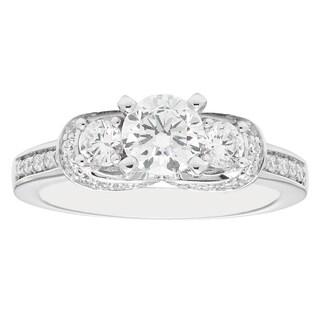 14k White Gold 1 1/2ct Round-cut 3-stone Diamond Engagement Ring