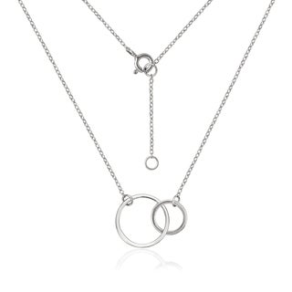 Sterling Silver Interlocking Eternity Double Circle Pendant 16-inch + 1-inch Extender Necklace