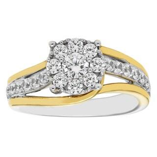 14k White and Yellow Gold 7/8ct Round-cut Diamond Engagement Ring