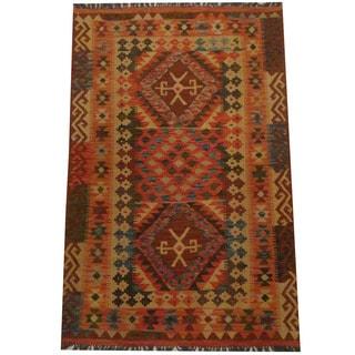 Herat Oriental Afghan Hand-woven Tribal Wool Kilim (3'10 x 6'1)
