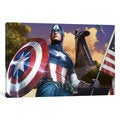 iCanvas Captain America with a Flag by Marvel Comics Canvas Print