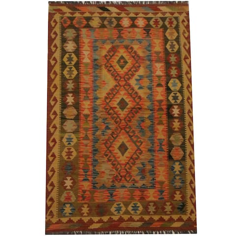 Handmade One-of-a-Kind Wool Kilim (Afghanistan) - 3'4 x 5'11