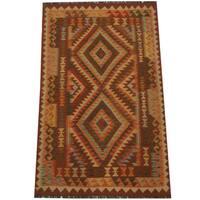 Herat Oriental Afghan Hand-woven Tribal Wool Kilim (4'x 6'7)