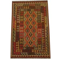 Herat Oriental Afghan Hand-woven Tribal Wool Kilim - 3'10 x 6'
