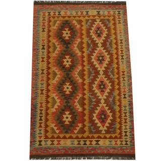 Herat Oriental Afghan Hand-woven Tribal Kilim (4'2 x 6'8)