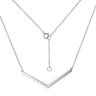 Sterling Silver Chevron Polished Bar Pendant Necklace with Extender