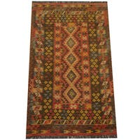 Herat Oriental Afghan Hand-woven Tribal Wool Kilim (4' x 6'8)