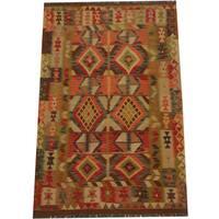 Herat Oriental Afghan Hand-woven Tribal Wool Kilim (4'3 x 6'4) - 4'3 x 6'4