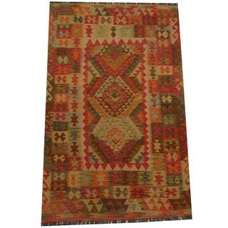 Herat Oriental Afghan Hand-woven Tribal Wool Kilim (4'1 x 6'4)