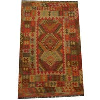 Herat Oriental Afghan Hand-woven Tribal Wool Kilim (4'1 x 6'4) - 4'1 x 6'4