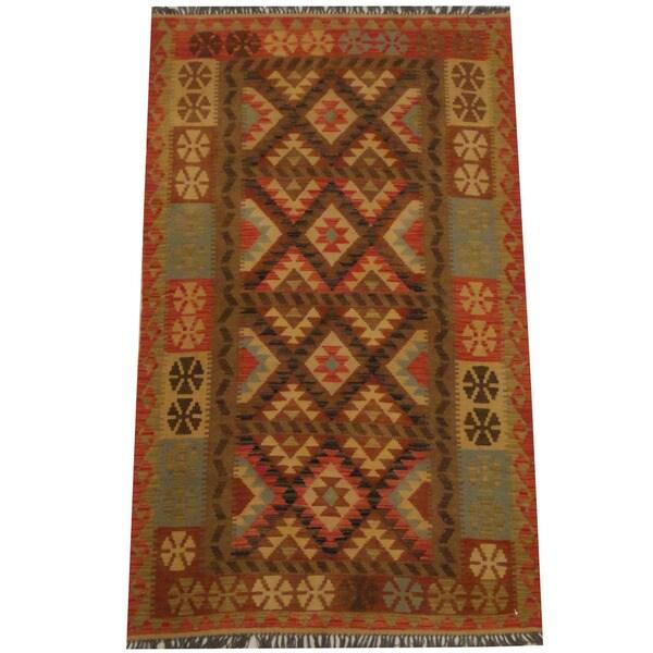 Herat Oriental Afghan Hand-woven Tribal Wool Kilim (4' x 6'4) - 4' x 6'4