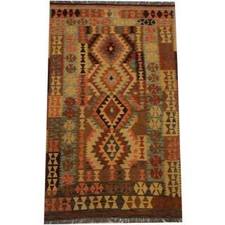 Herat Oriental Afghan Hand-woven Tribal Kilim (4'3 x 7'4)
