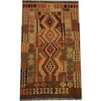 Herat Oriental Afghan Hand-woven Tribal Wool Kilim (4'3 x 7'4)