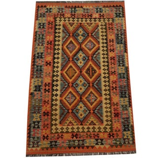 Herat Oriental Afghan Hand-woven Tribal Kilim (4'4 x 6'4)